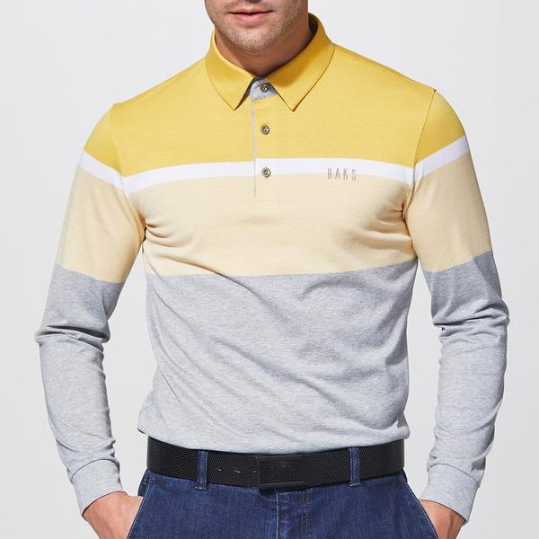 [닥스종합관] DAKS GOLF MEN 옐로우 컬러블록 면혼방 긴팔티셔츠 DGTS8C551 Y2