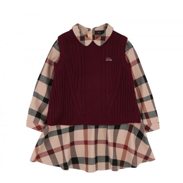 [닥스키즈] 하우스체크 원피스 + 스웨터 베스트 SET DOF12NA55M_BG