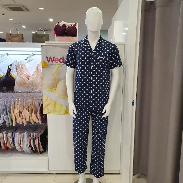 (비비안)순면 도트패턴 셔츠형 남성잠옷세트 MP037